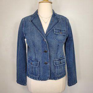 Relativity Blazer Style Denim Jean Jacket, L